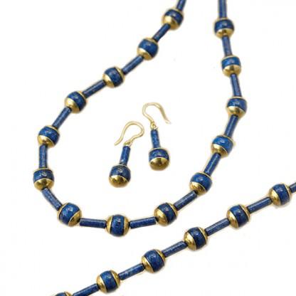 Nefertiti Lapis Lazuli and Gold Vermeil Set