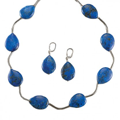 Lapis Lazuli and Sterling Silver Wave Set