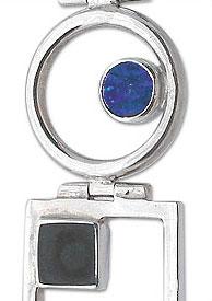 Sterling Silver, Lapis Lazuli and Obsidian Art Deco Bracelet