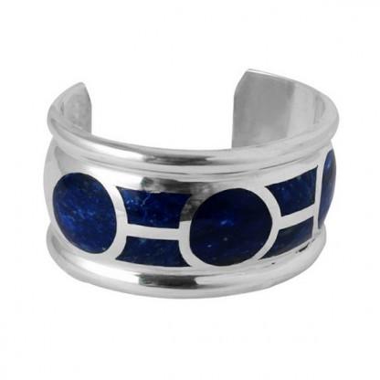 Sterling Silver and Lapis Lazuli Art Deco Cuff Bracelet