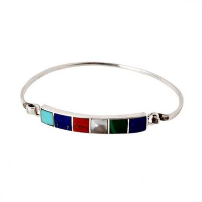 Sterling Silver, Lapis Lazuli, Turquoise, Malachite, Nacar and Jasper Hooked Cuff Bracelet