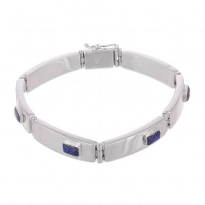 Stelring Silver and Lapis Lazuli Sky Windows Hinge Bracelet