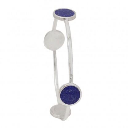 Sterling Silver and Lapis Lazuli Planetary Circle Bangle Bracelet