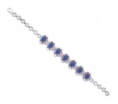 Sterling Silver and Lapis Lazuli Medallion Cabochon Bracelet