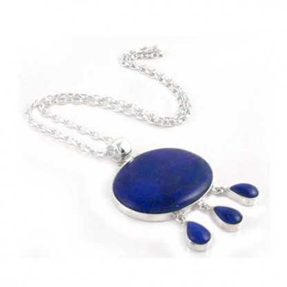 Lapis Lazuli and Sterling Silver Sun Drops Necklace