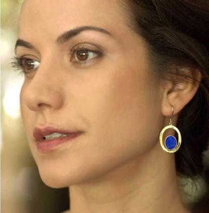 18K Gold and Lapis Lazuli Hanging Earrings