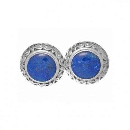 Sterling Silver and Lapis Lazuli Fleur de Lis Post or Clip Earrings