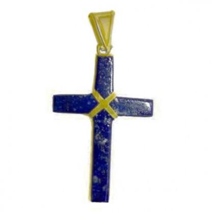 18K Gold and Lapis Lazuli Rectangular Cross