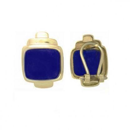18K Gold and Lapis Lazuli Framed Post Earrings