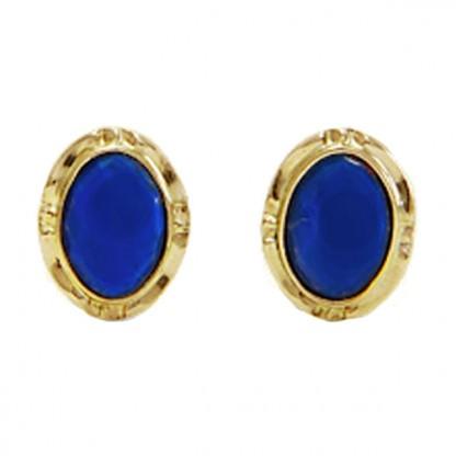 14K Gold Frame Lapis Lazuli Oval Post Earrings