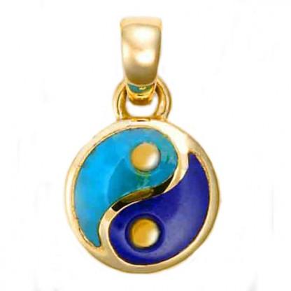 Small 18K Gold Lapis Lazuli and Turquoise Yin Yang Charm