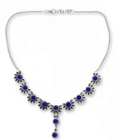 Sterling Silver and Lapis Lazuli Daisy Semi-Collar