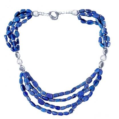 Lapis Lazuli Denim Bead Necklace