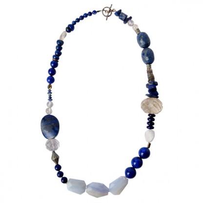 Mixed Lapis Lazuli beads and Quartz Necklace