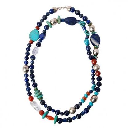 Mixed Lapis Lazuli, Jasper, Turquoise and Quartz Necklace Bead Necklace