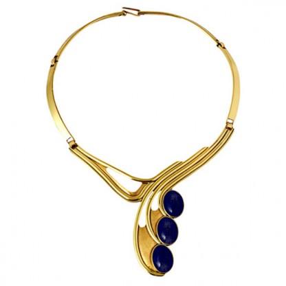 Art Deco Lapis Lazuli and Gold Vermeil Necklace