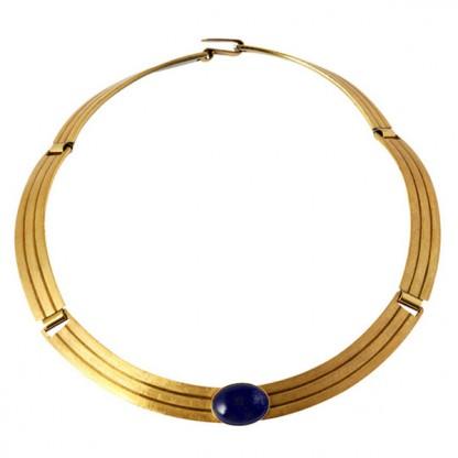 Satin Ribbon Lapis Lazuli and Gold Vermeil Single Cabochon Necklace