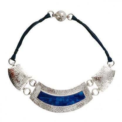 Sterling Silver and Lapis Lazuli Mosaic Bib Necklace