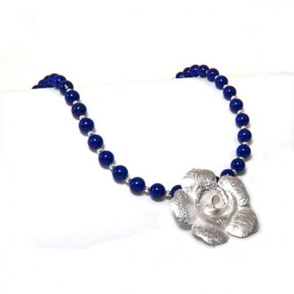 Lapis Lazuli Rose Beaded Necklace