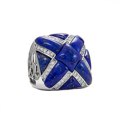 Lapis Lazuli and Cubic Zircornia Cross Cocktail Ring