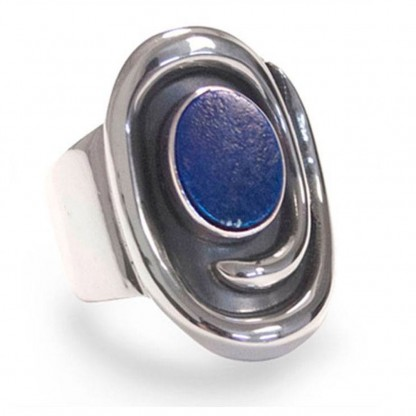 Sterling Silver and Lapis Lazuli Tide Pool Ring