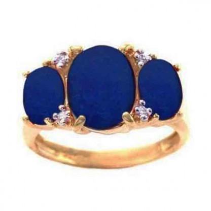 18K Gold, Lapis Lazuli and Diamonds Cross Promise Ring