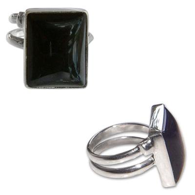 Sterling Silver and Lapis Lazuli Big Rectangular Ring