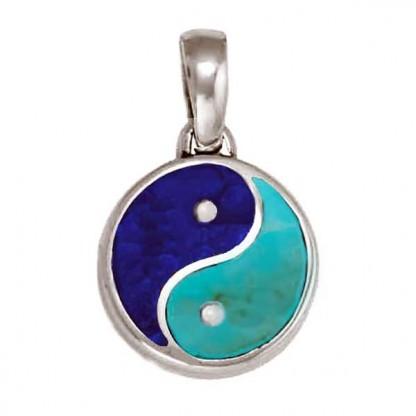 Medium Lapis Lazuli and Turquoise Yin Yang Charm
