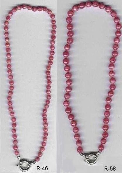 6 mm and 8 mm Rhodhocrosite Bead Necklace