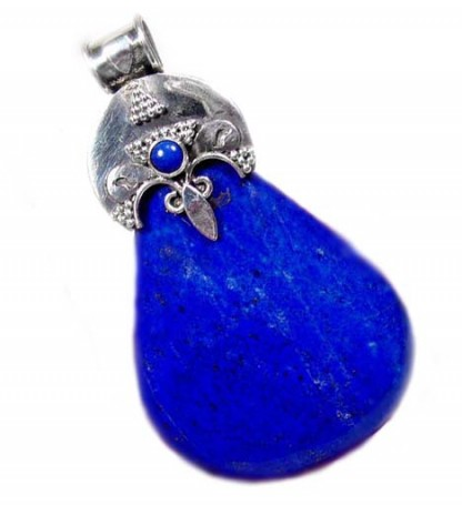 Artistic Sterling Silver and Lapis Lazuli Pendant with Relieved Bail