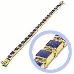 18K Gold Lapis Lazuli Mini Square Hinge Bracelet
