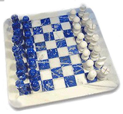 Lapis Lazuli and Marble Chess Set