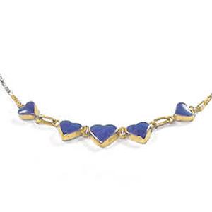 Lapis Lazuli and Gold Vermeil Heart Semicollar