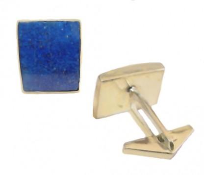 Lapis Lazuli and 18K Gold Rectangular Cuff Links
