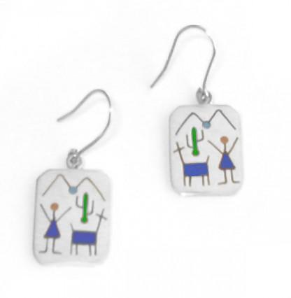 Sterling Silver Rectangular Diaguitas Hanging Earrings
