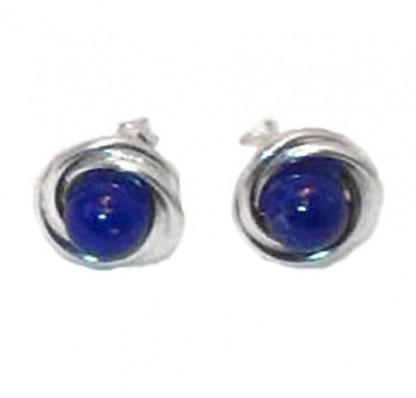 Sterling Silver Bird Nest Lapis Lazuli Earrings