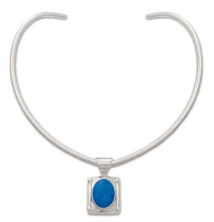 Sterling Silver and Lapis Lazuli Oval in Rectangle Necklace