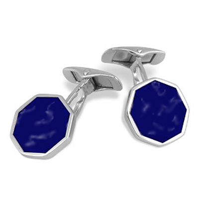 Sterling Silver and Lapis Lazuli Octogonal Cuff Links