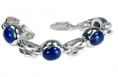 Sterling Silver and Oval Lapis Lazuli Cabochons Bracelet