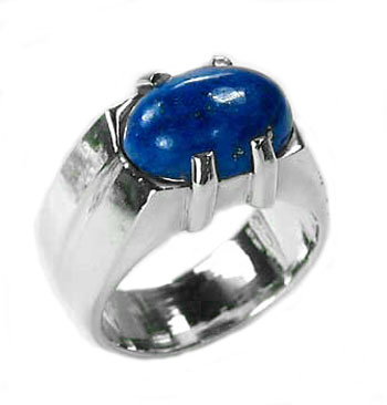 Sterling Silver and Oval Lapis Cabochon Ring