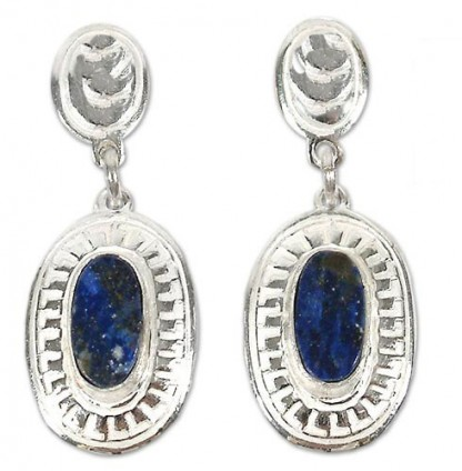Sterling Silver and Lapis Lazuli Oval Crowned Earrings