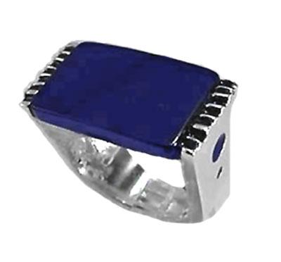 Sterling Silver and Lapis Lazuli Rectangular Slab Ring