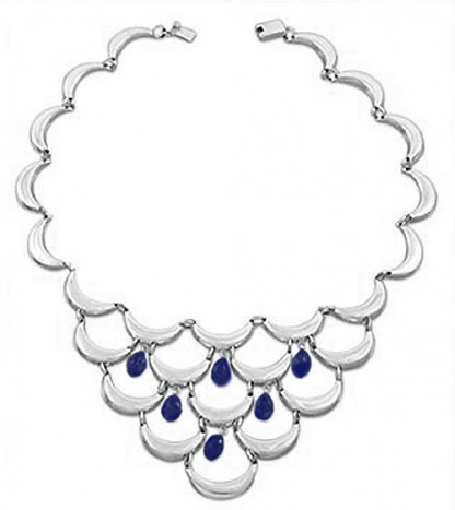 Lapis Lazuli and Sterling Silver Waves Necklace