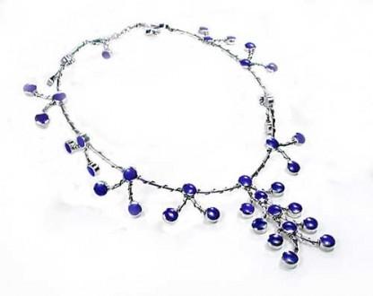 Sterling Silver and Lapis Lazuli Garden Cascade Necklace