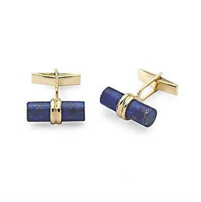 18K Gold and Lapis Lazuli Bar Cuff links