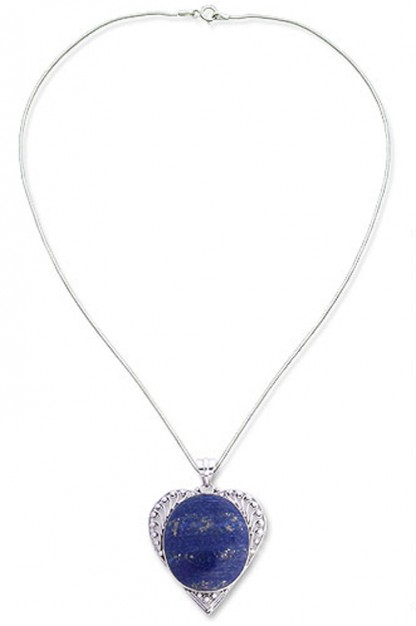 Sterling Silver and Lapis Lazuli Laced Heart pendant and Chain