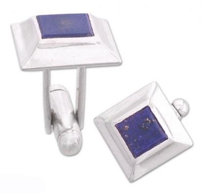 Sterling Silver and Lapis Lazuli Flat Pyramidal Cuff Links