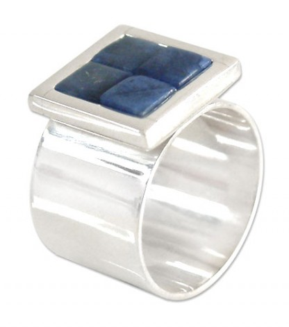 Sterling Silver Invisible setting Lapis Lazuli Ring