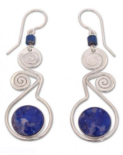 Lapis Lazuli and Sterling Silver Swirl Earrings