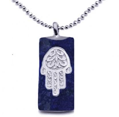 Lapis Lazuli and Sterling Silver Hamsa Charm